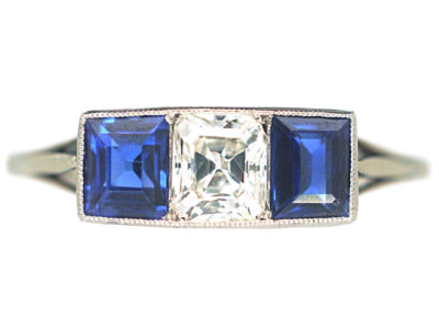 Art Deco Platinum, Sapphire & Diamond Three Stone Ring