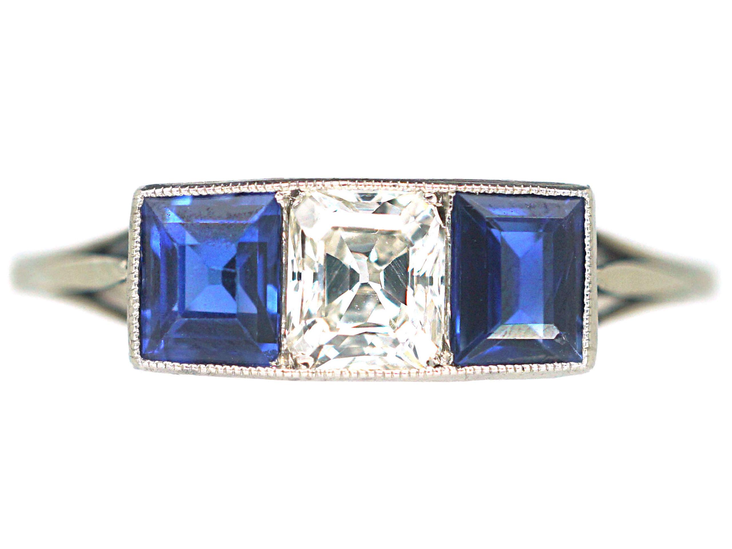Art Deco Platinum, Sapphire & Diamond Three Stone Ring