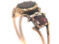 Georgian 9ct Gold Flat Cut Almandine Garnet Ring