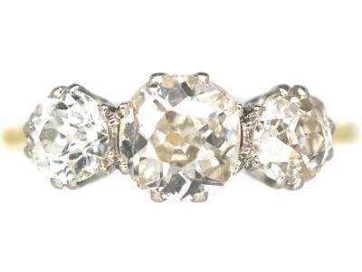 Edwardian 18ct Yellow Gold & Platinum, Three Stone Diamond Ring