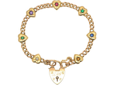Edwardian 15ct Gold Hearts & Curb Motif Bracelet set with Gemstones that Spell Dearest