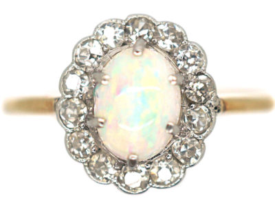 Edwardian 18ct Gold & Platinum, Opal & Diamond Cluster Ring