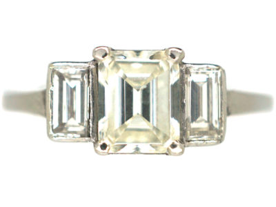 Art Deco Platinum Three Stone Diamond Ring