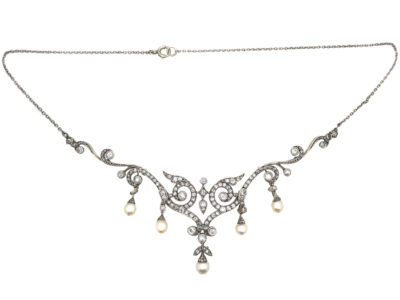 Edwardian 15ct Gold & Platinum, Natural Pearl & Diamond Necklace in Original Case