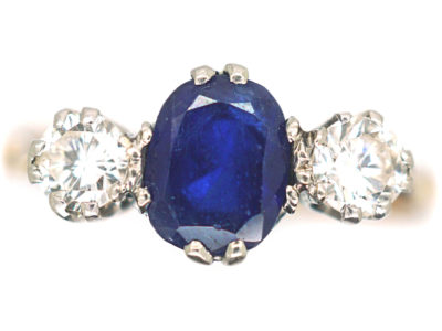 18ct Gold & Platinum, Sapphire & Diamond Three Stone Diamond Ring