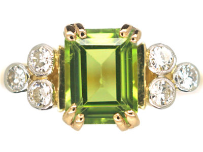 18ct Gold & Platinum Peridot & Diamond Ring by Alabaster & Wilson