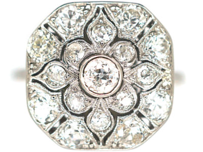 Art Deco Platinum & Diamond Plaque Ring with Flower Motif