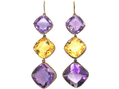 Large Victorian 15ct Gold Amethyst & Citrine Long Drop Earrings