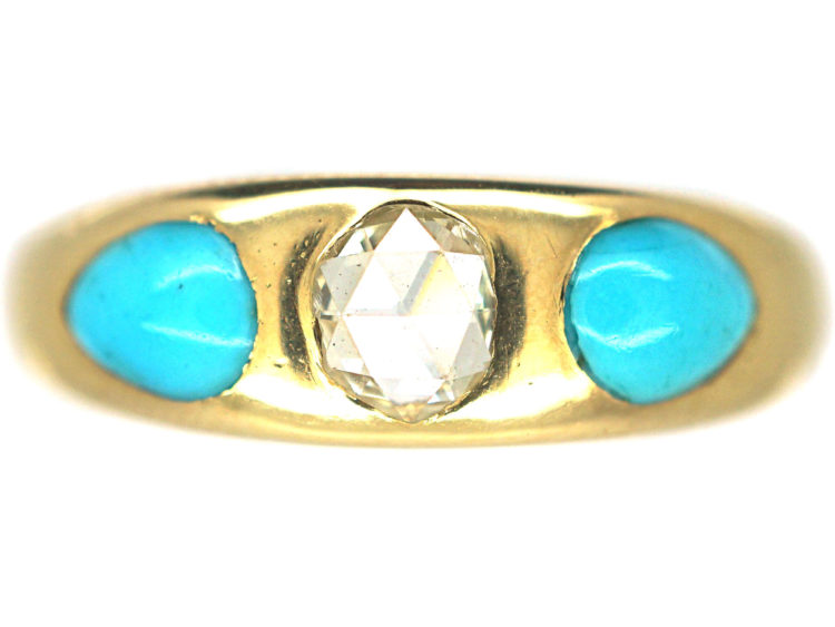 Victorian 18ct Gold, Rose Diamond & Pear Shaped Turquoise Forget Me Not Ring