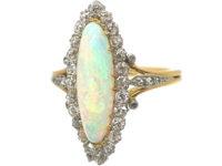 Edwardian 18ct Gold, Opal & Diamond Marquise Ring