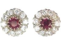 Art Deco 18ct White Gold Ruby & Diamond Cluster Earrings