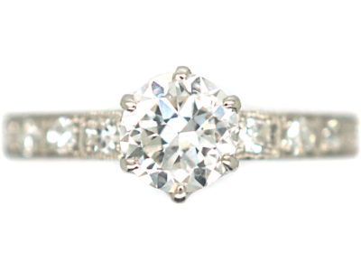 Art Deco Platinum Diamond Solitaire Ring with Diamond Set Shoulders