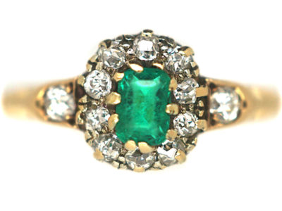 Edwardian 18ct Emerald & Diamond Cluster Ring with Diamond Set Shoulders