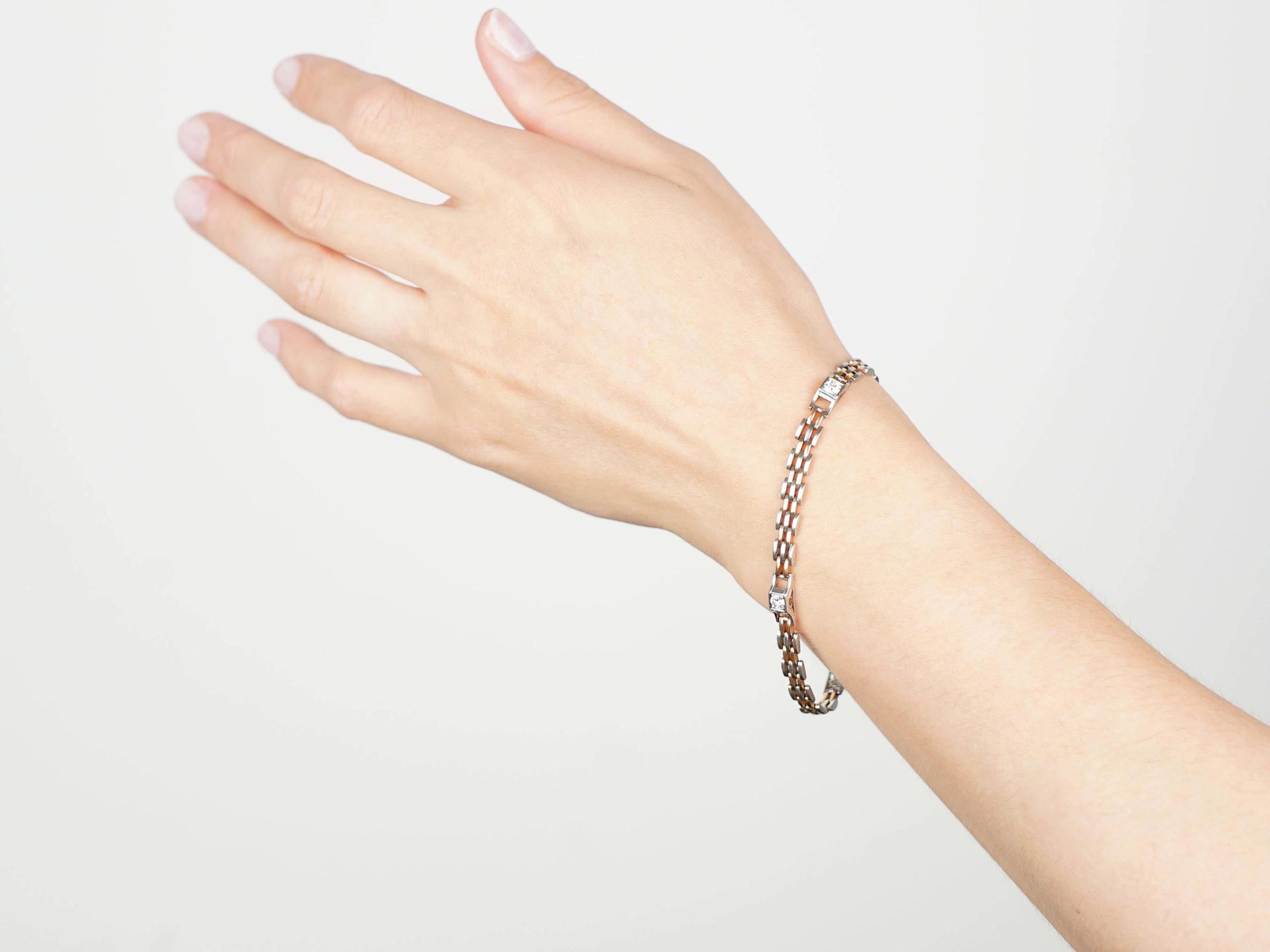 Art Deco Two Colour Platinum & 18ct Gold Diamond Bracelet