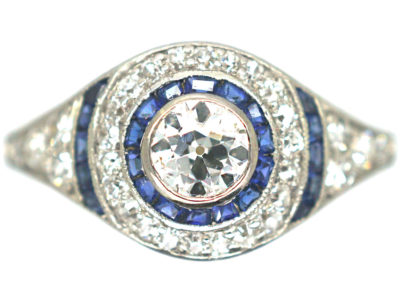 Art Deco 18ct Gold & Platinum, Sapphire & Diamond Target Ring