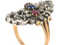 Art Nouveau Austrian 14ct Gold, Ruby Sapphire & Rose Diamond Floral Ring