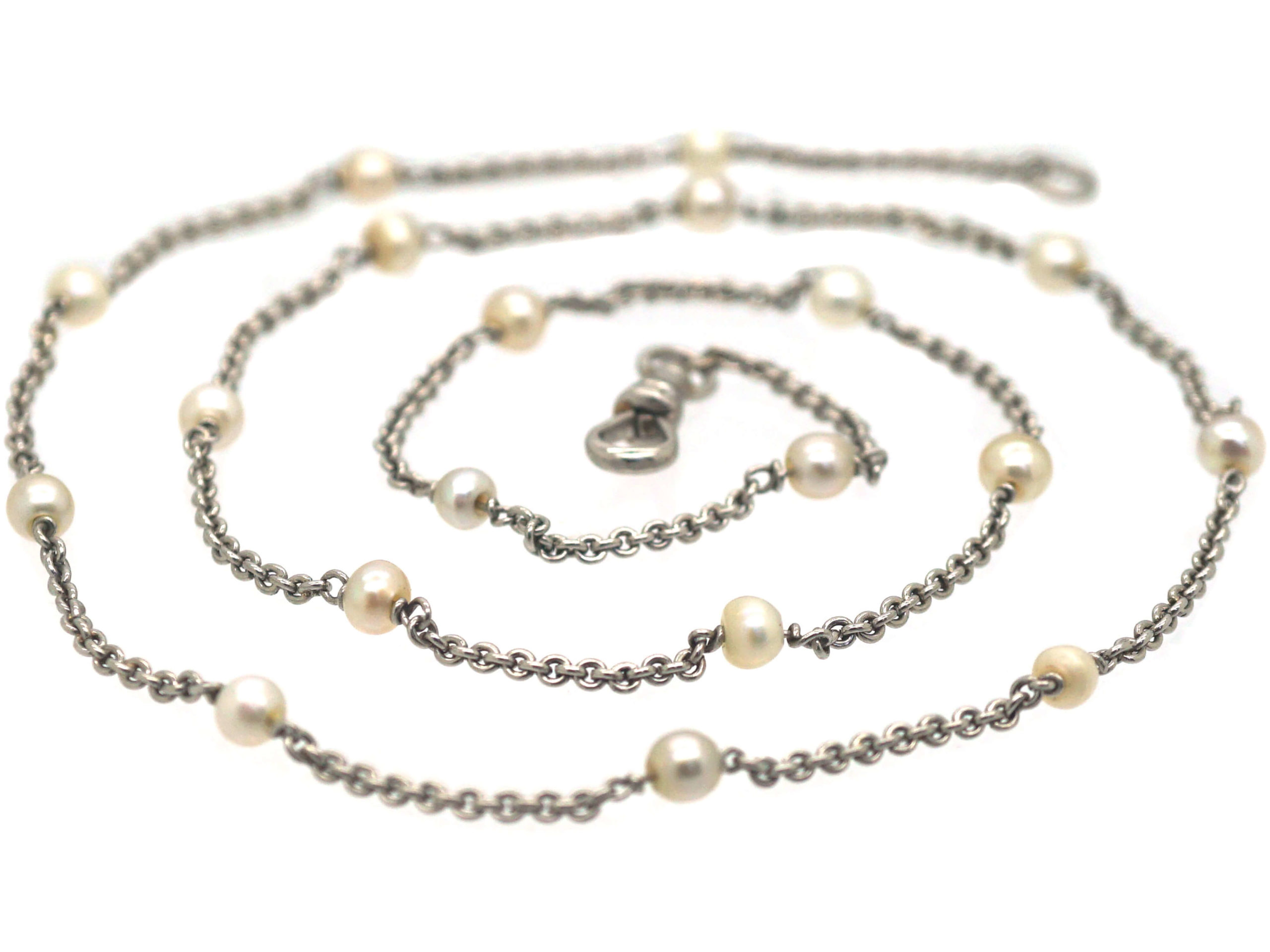 Art Deco 18ct White Gold & Natural Pearls Chain