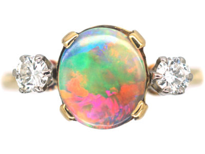 Art Deco 18ct Gold & Platinum, Diamond & Black Opal Ring