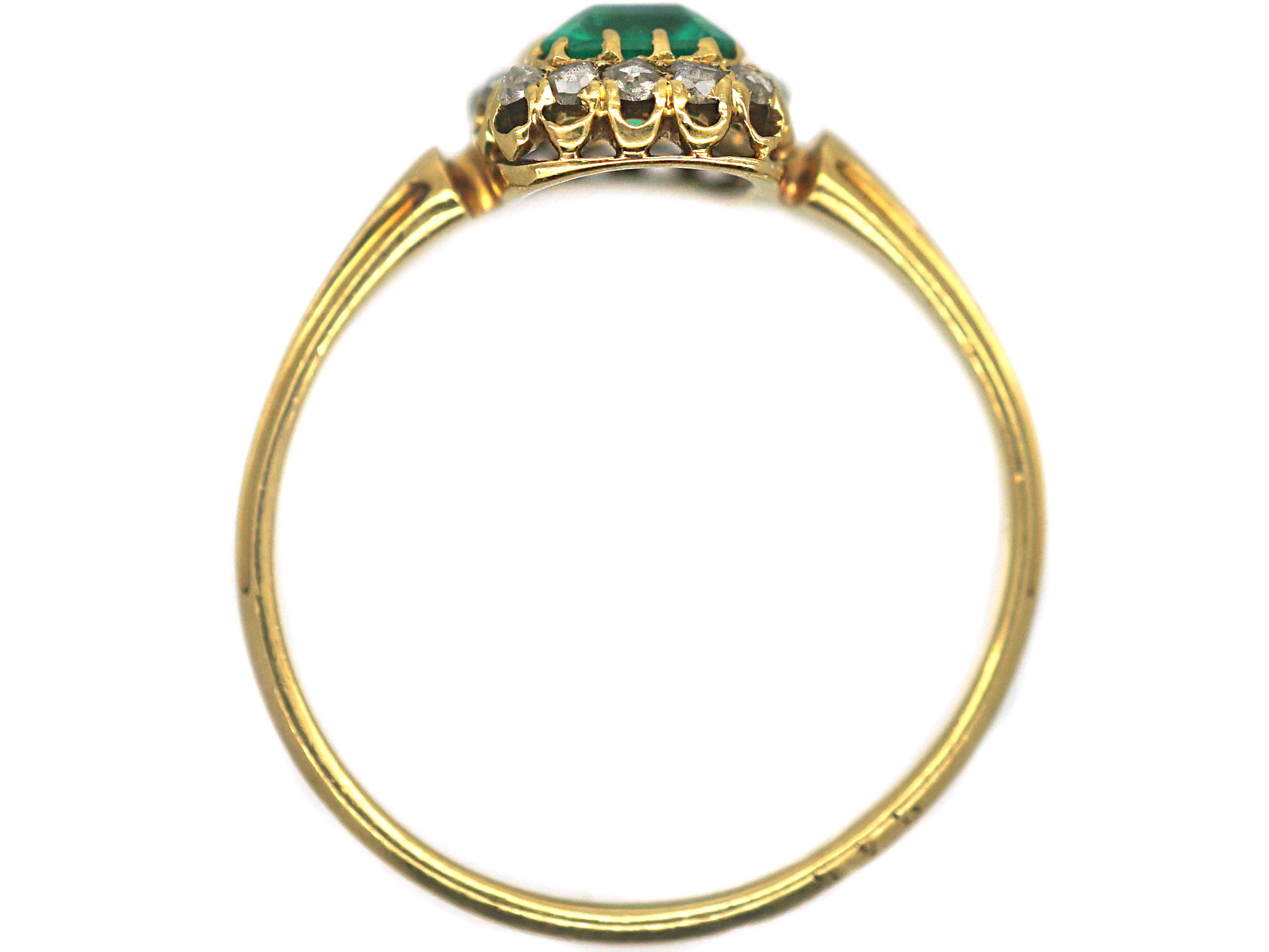 French 18ct Gold, Emerald & Rose Diamond Ring