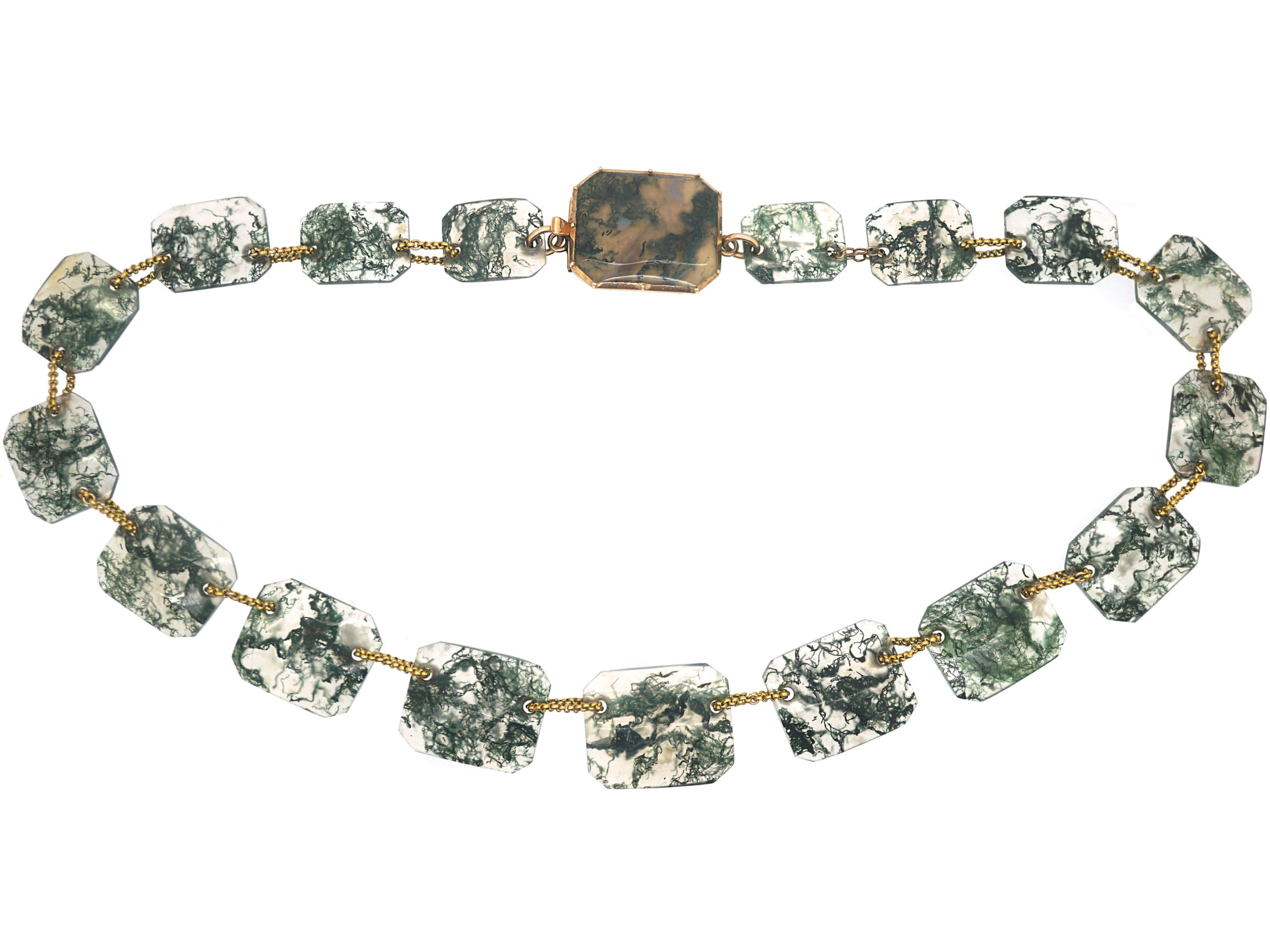 Georgian Gold & Moss Agate Necklace