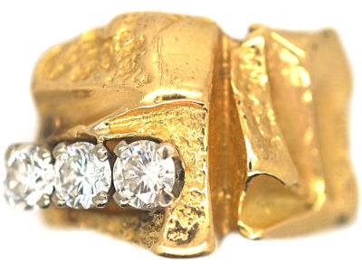 Modernist 18ct Gold Ring set with Three Diamonds by Bjorn Wekkstrom