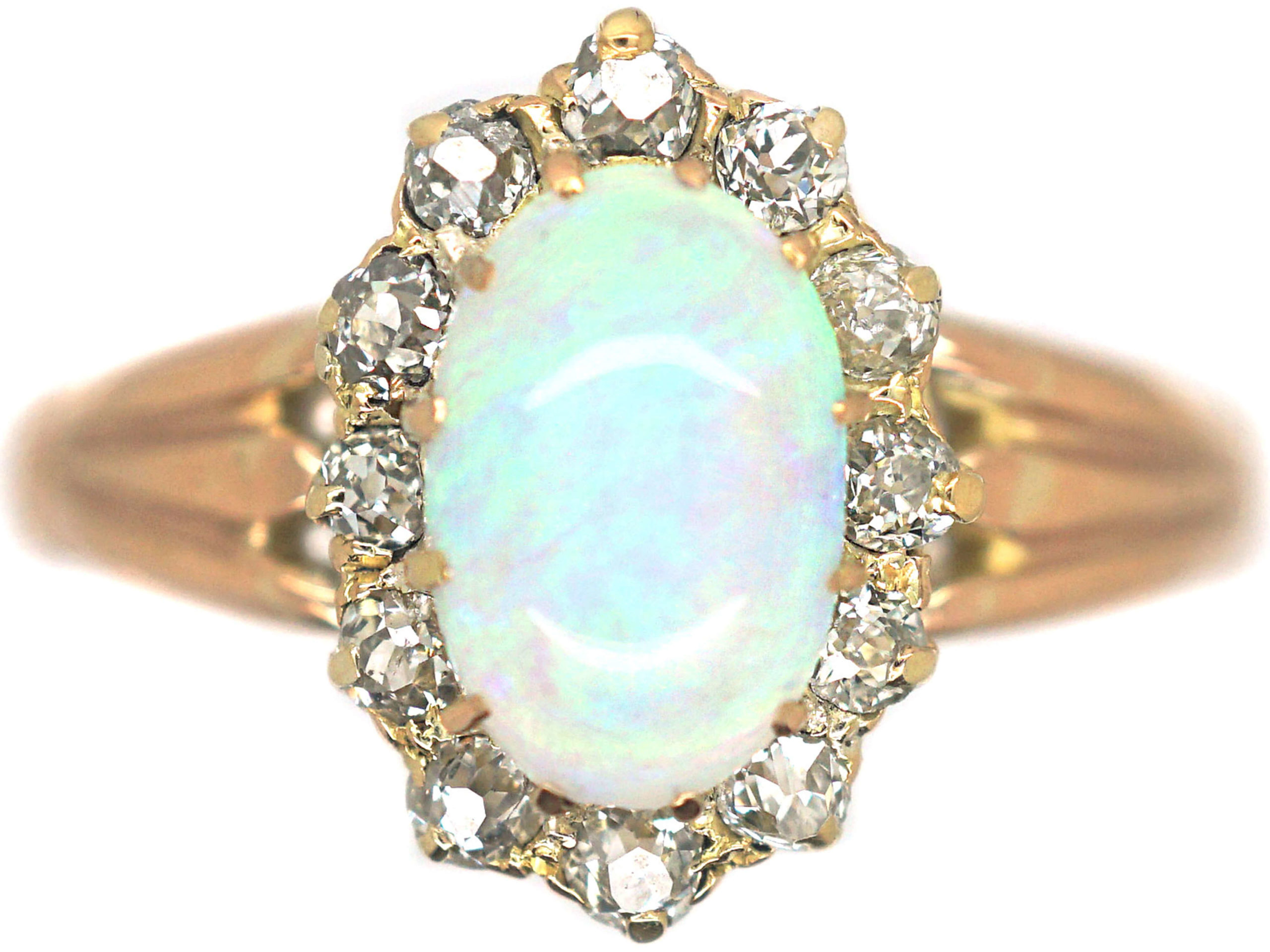Edwardian 15ct Gold, Opal & Diamond Oval Cluster Ring