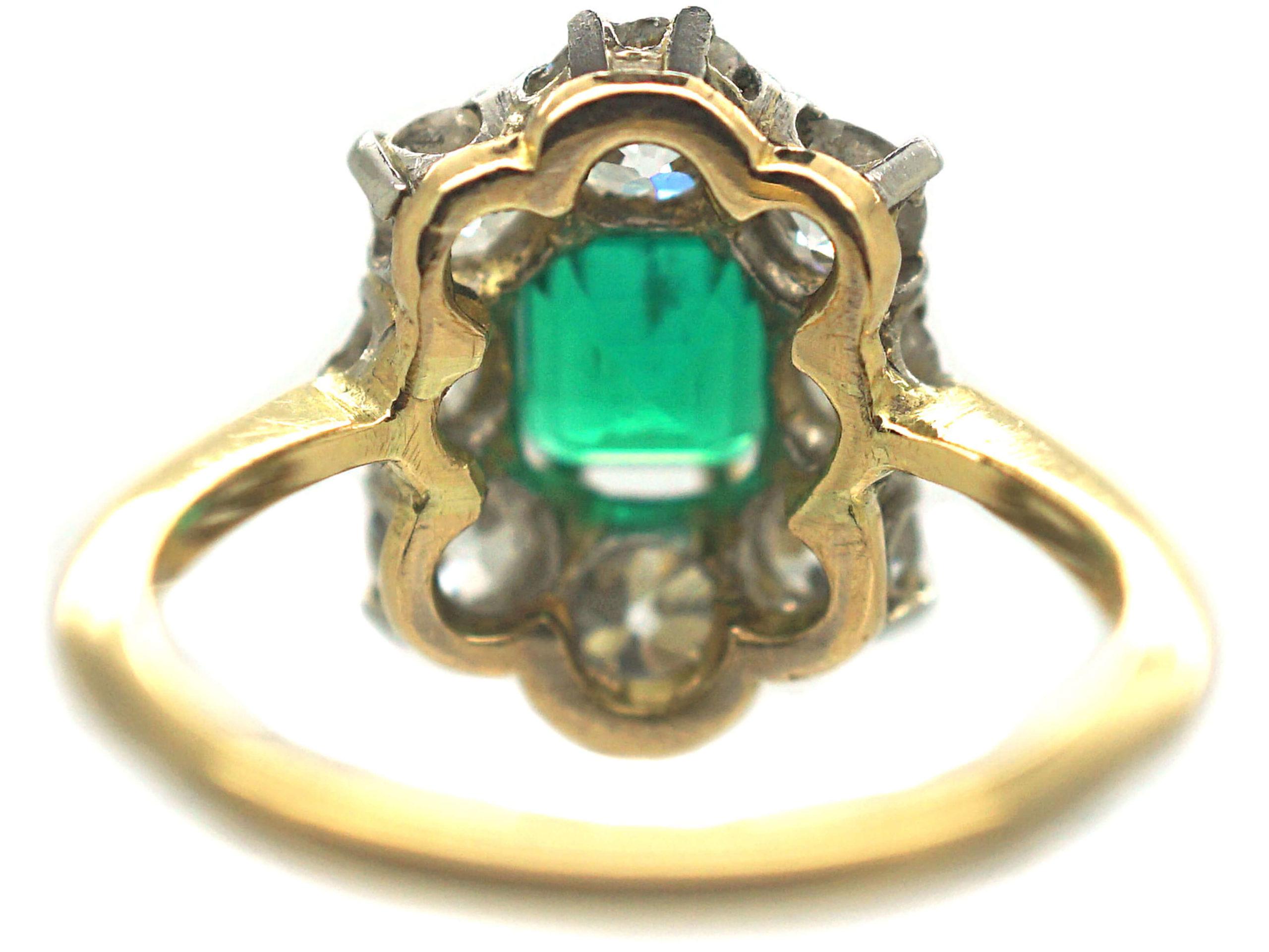 Art Deco 18ct Gold Emerald & Diamond Rectangular Cluster Ring