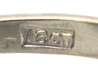 Art Deco 18ct White Gold, Black Opal & Diamond Ring