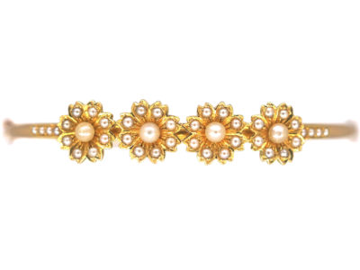 Edwardian 15ct Gold Daisy Design Bangle set with Natural Split Pearls