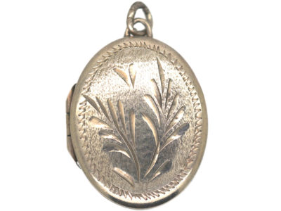 Oval Silver Locket with Incised Leaf Design