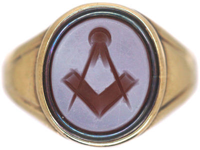9ct Gold Ring with Carnelian Masonic Intaglio