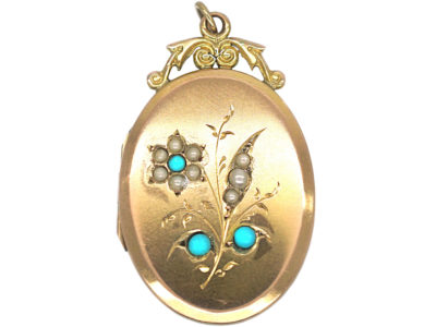 Edwardian 9ct Back & Front Oval Locket with Flower Motif