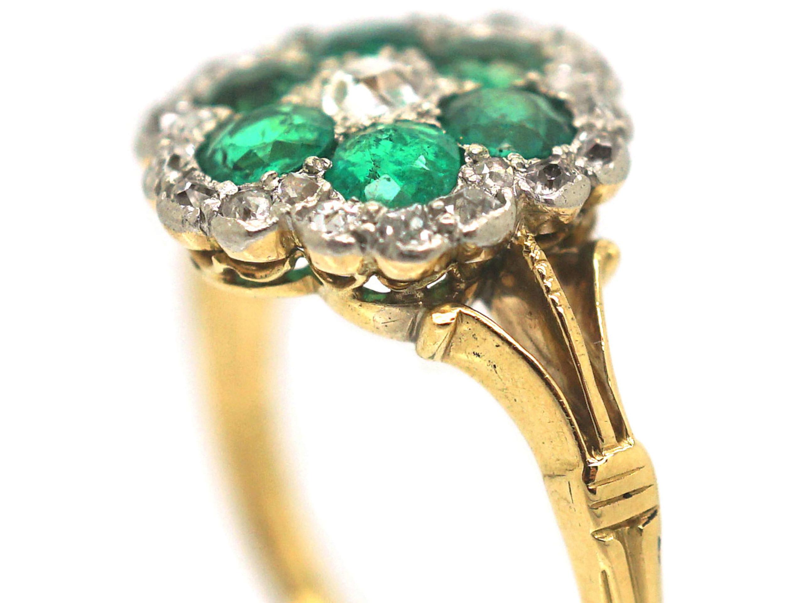 Edwardian 18ct Gold, Emerald & Diamond Flower Cluster Ring