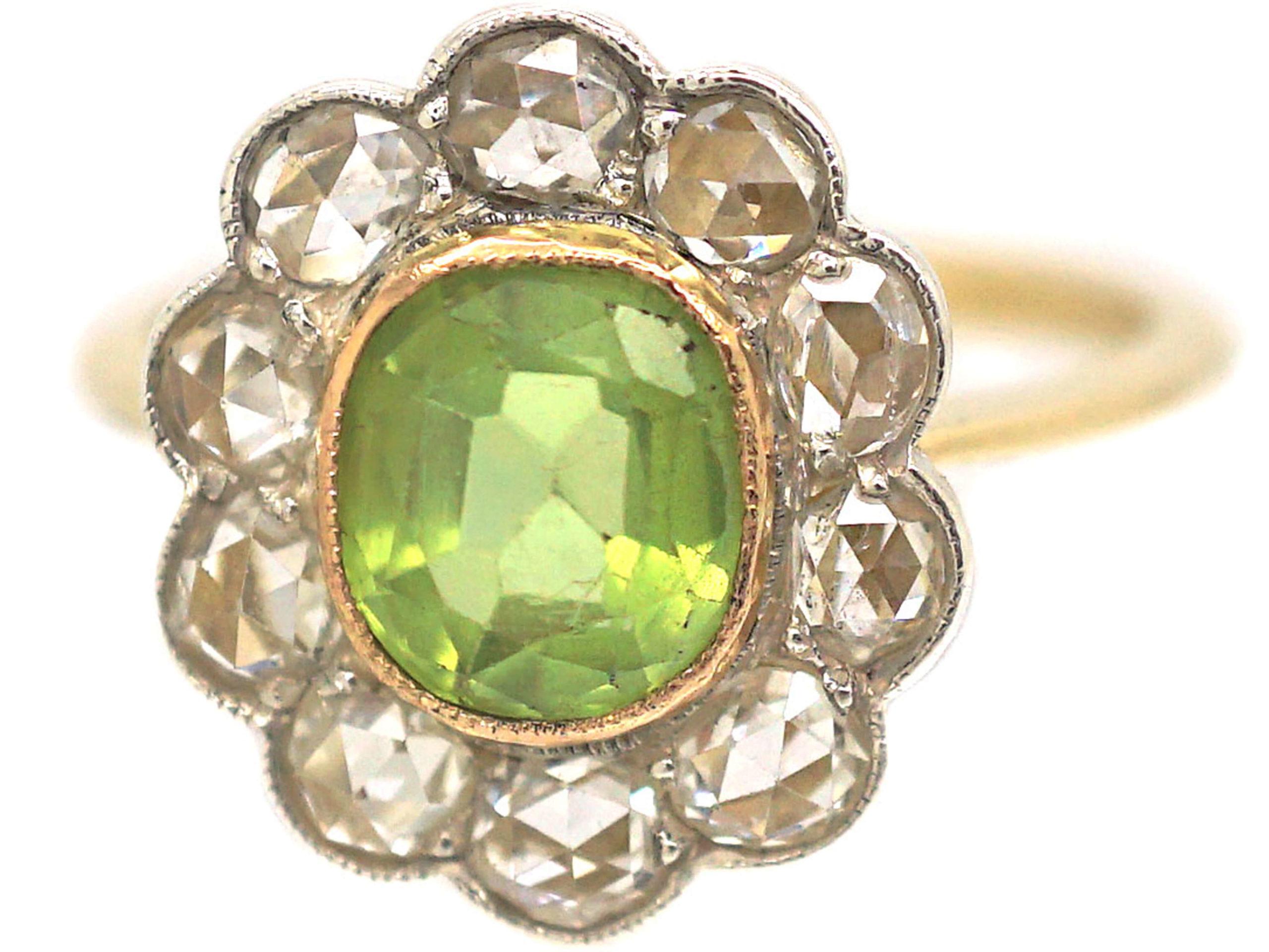 Edwardian 18ct Gold & Platinum, Peridot & Rose Diamond Cluster Ring