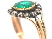Georgian Emerald & Rose Cut Diamond Cluster Ring