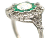 Art Deco Platinum, Emerald & Diamond Target Ring with Diamond Set Shoulders