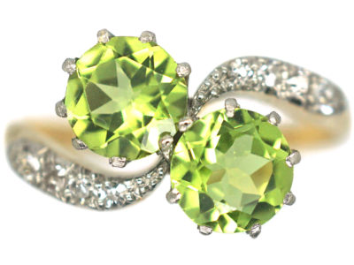 Edwardian 18ct Gold & Platinum Two Stone Peridot & Diamond Crossover Ring
