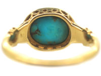 Victorian 18ct Gold, Turquoise & Rose Diamond Ring