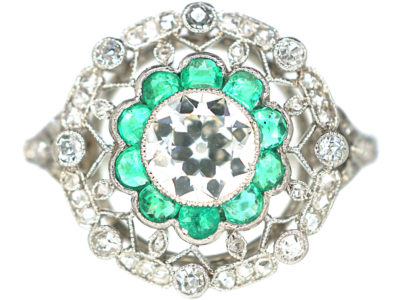 Art Deco Platinum, Emerald & Diamond Target Ring with Diamond Set Shoulders