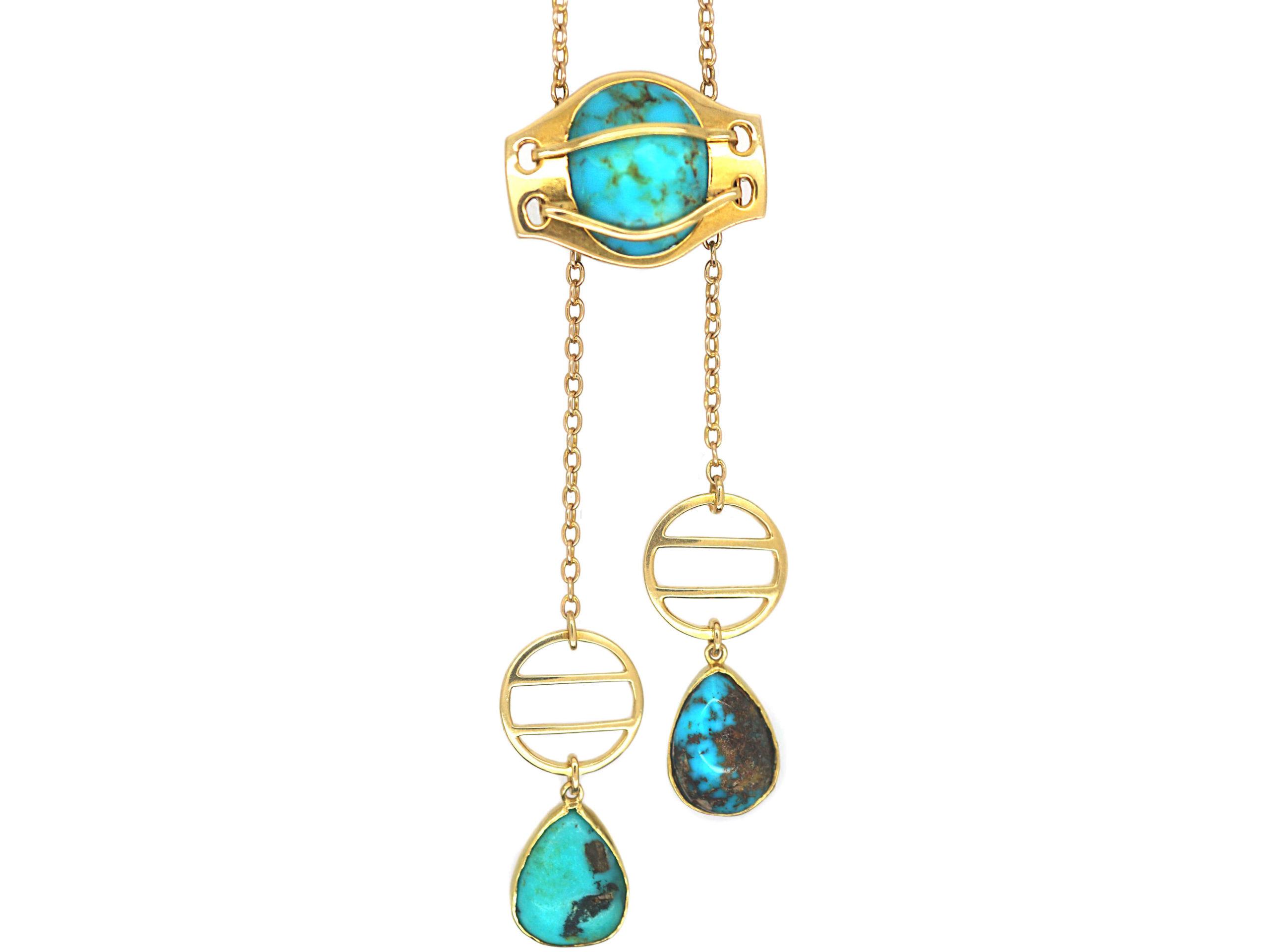Art Nouveau 15ct Gold & Turquoise Necklace by Murrle Bennett & Co
