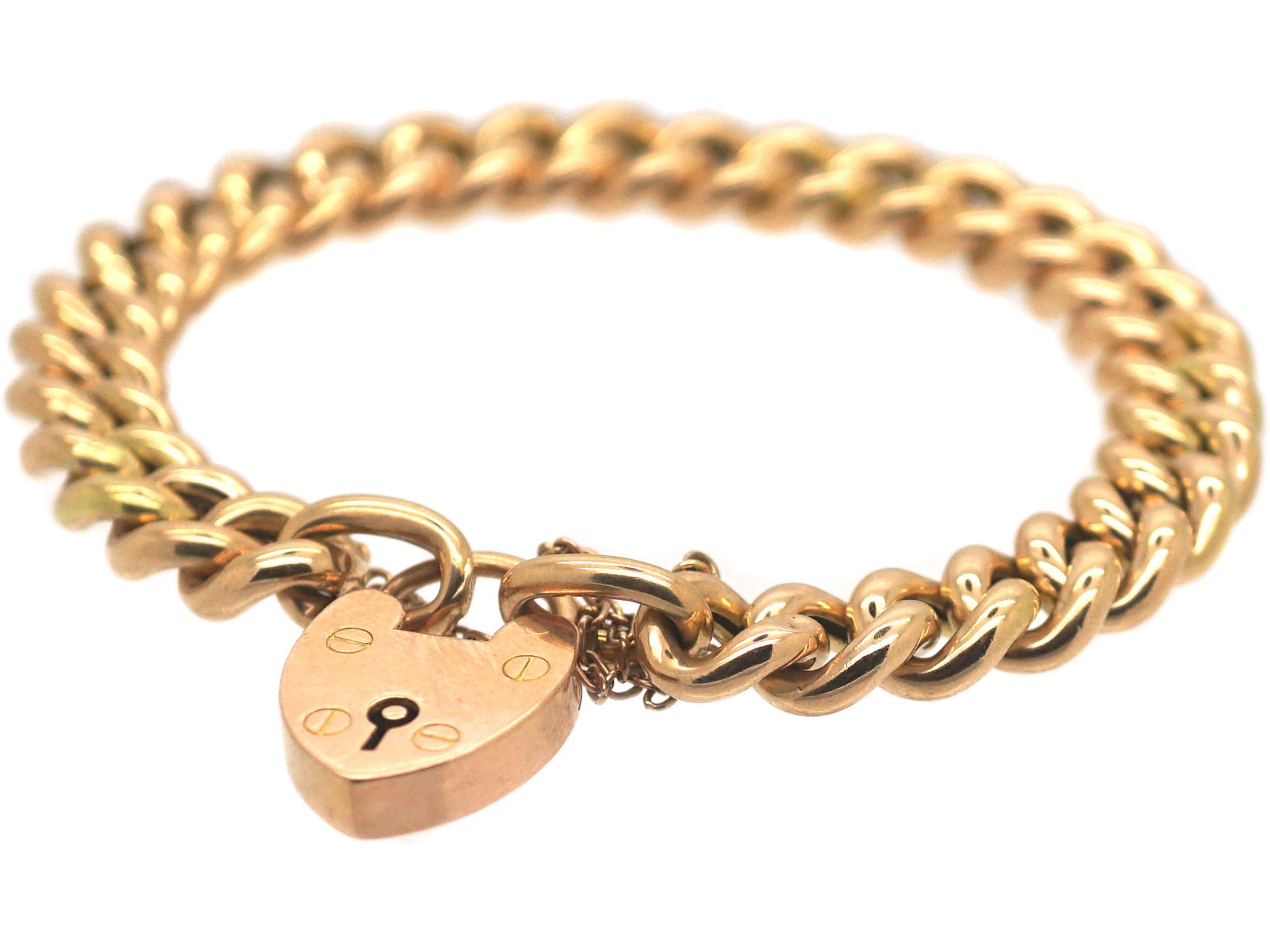 Edwardian 15ct Gold Curb Link Bracelet