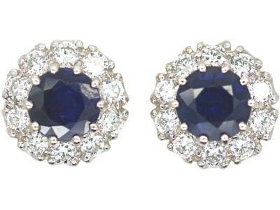 French 18ct Gold, Sapphire & Diamond Cluster Earrings