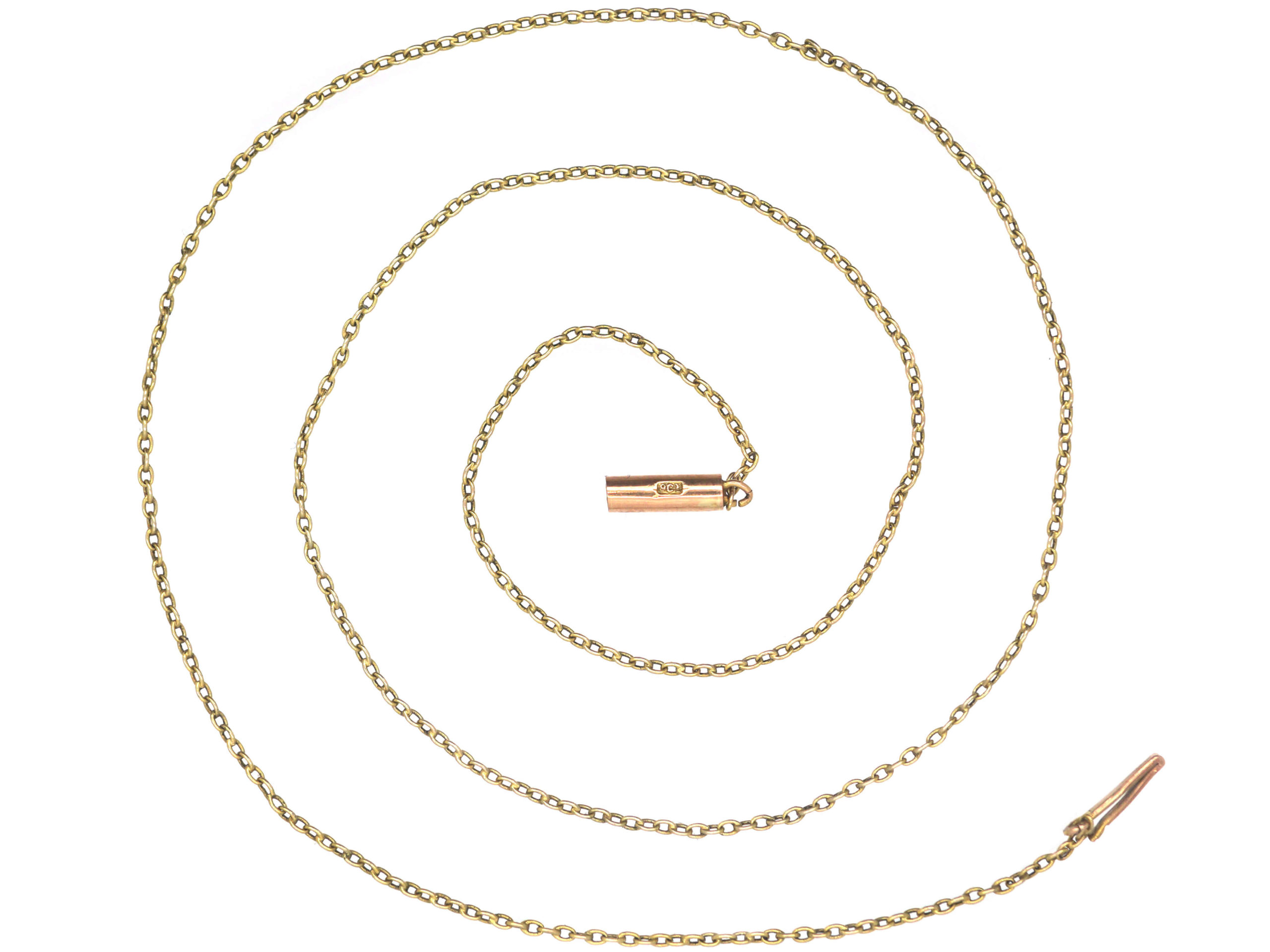 Edwardian Fine 9ct Gold Chain with Barrel Clasp