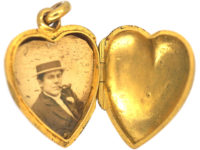 Edwardian 15ct Gold & Ruby Heart Shaped Locket