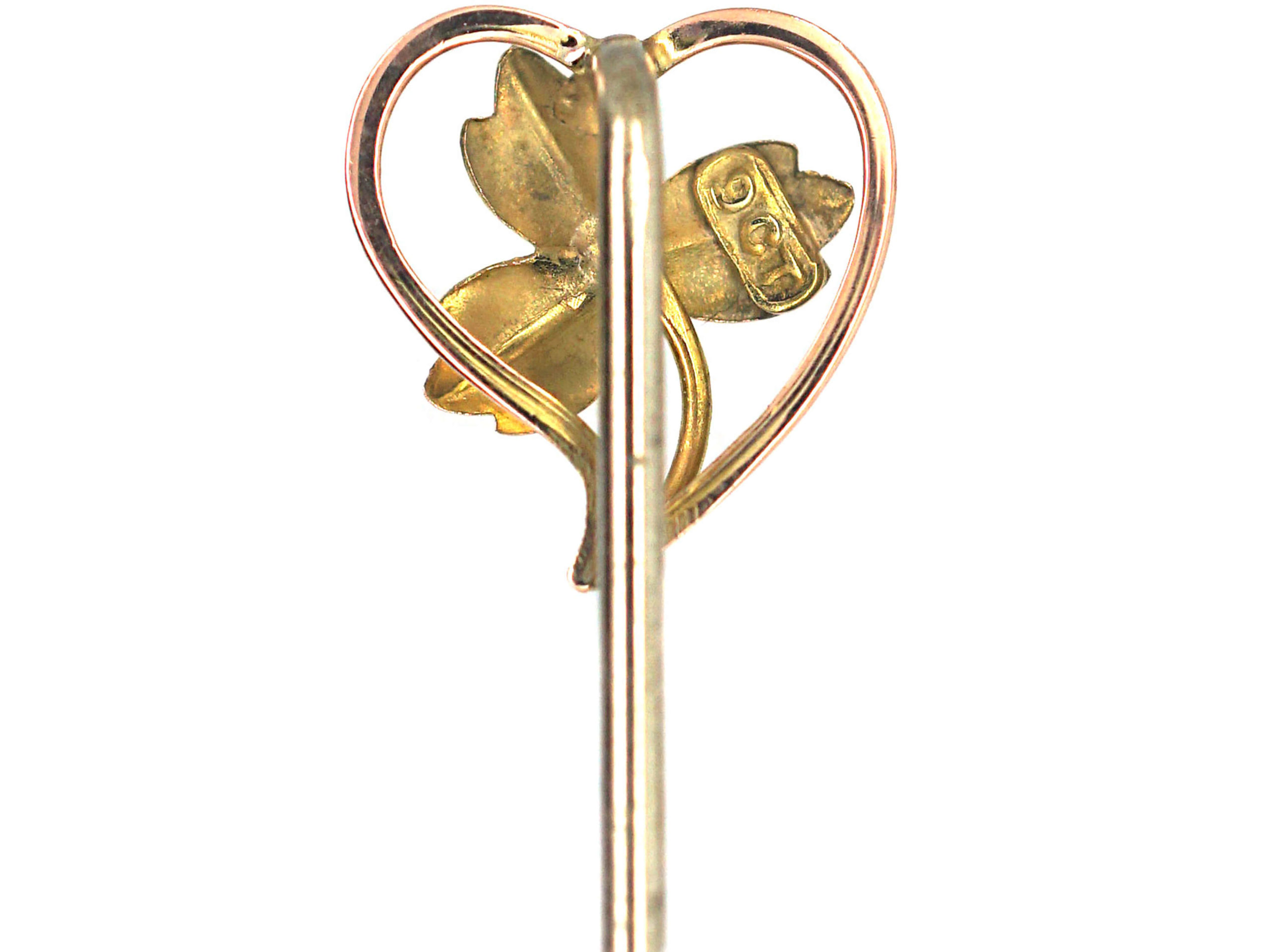 Edwardian 9ct Gold Three Leaf Clover within a Heart Tie Pin