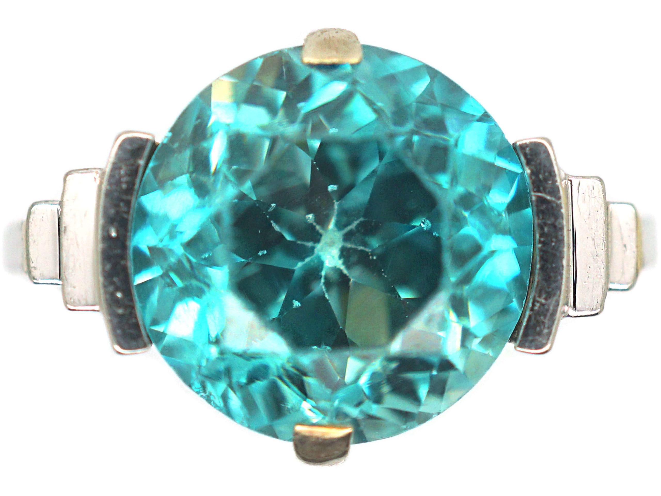 Art Deco 18ct White Gold Zircon Ring