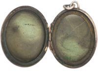 Oval Silver Locket with Incised Leaf Design