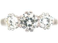 Art Deco Platinum, Three Stone Diamond Ring with Engraved Floral Shank