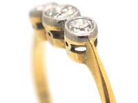 Art Deco 18ct Gold & Platinum, Three Stone Diamond Ring