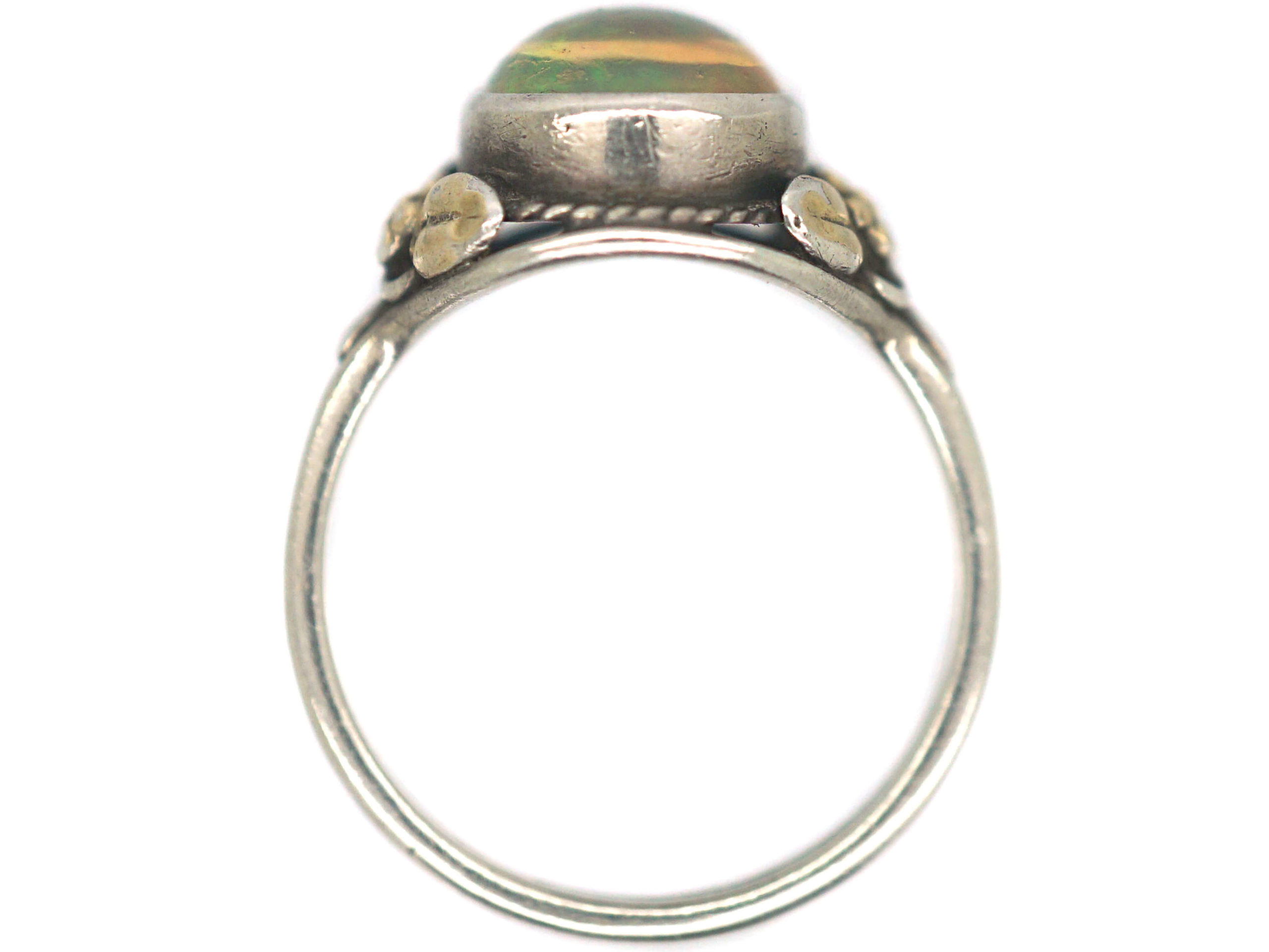 Arts & Crafts Silver & Gold, Water Opal Ring